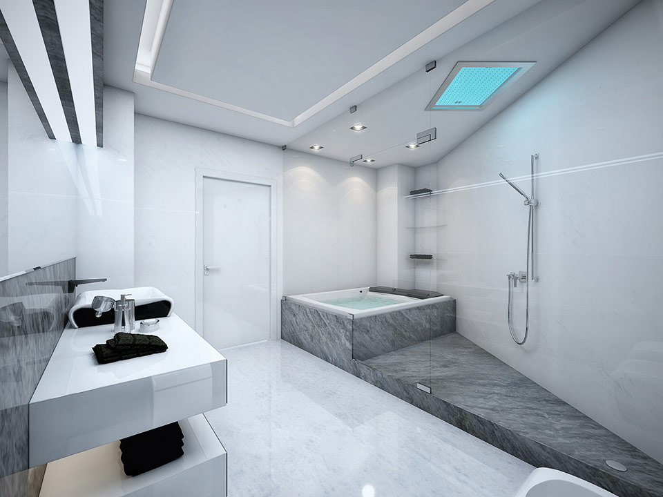 A white and grey marble bathroom complete with a glass-paneled jacuzzi/shower.