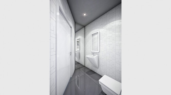 A sleek, grey and white bathroom with subtle graphic prints on the walls offers something unique.