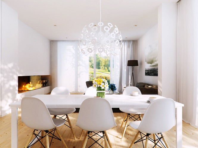 A wooden but modern, white dining room table looks rustic and homey, yet modern as well. It is accompanied by modern chairs set upon wooden legs. A starburst white chandelier hangs above the table.