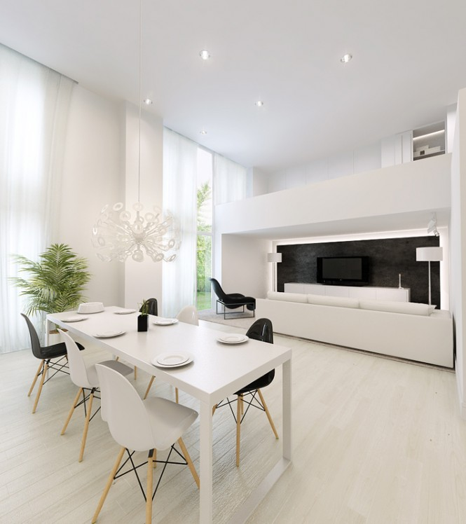 white dining table with white living area
