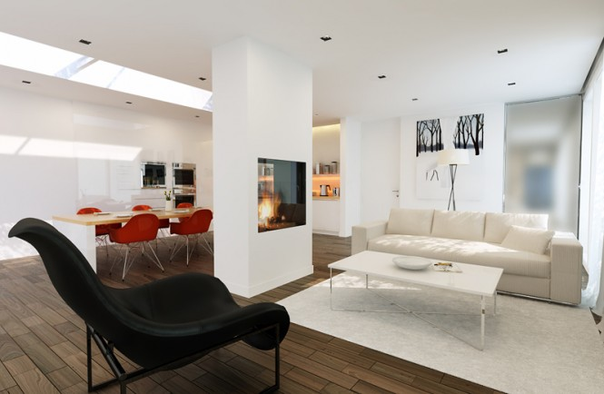 white modern living area with black and red chairs