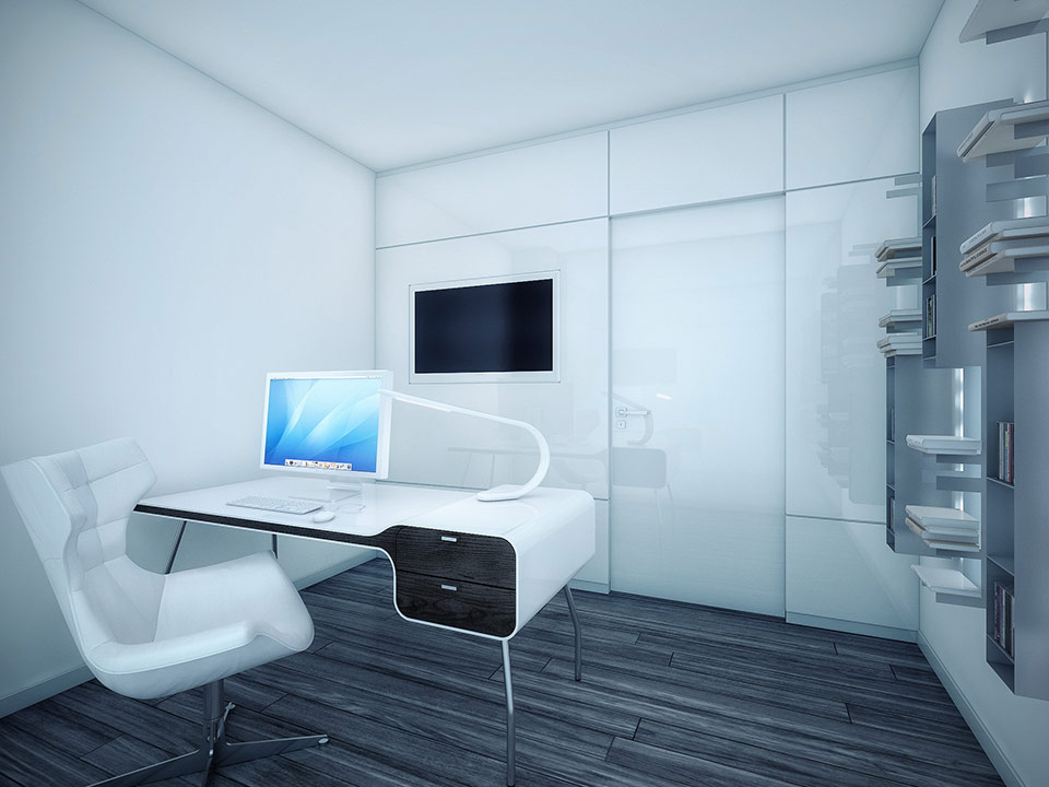 A modern white and wood office area maximizes space and organization by installing panels into the wall for books and an insert for a television screen.