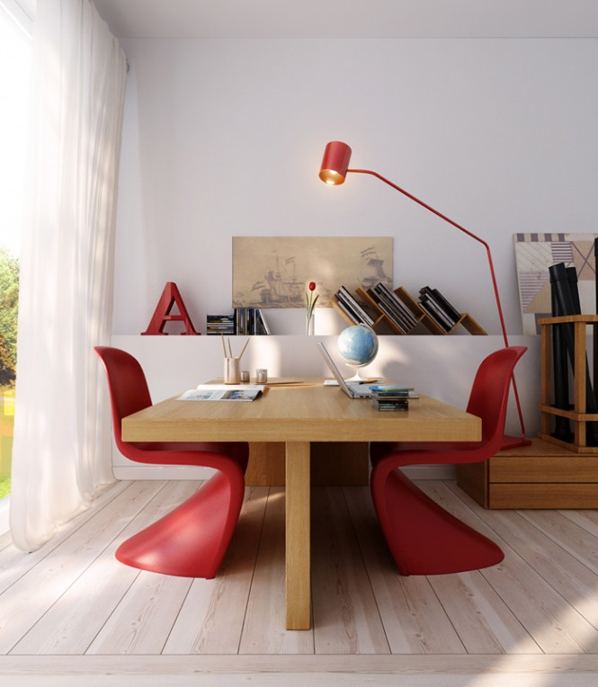 A clean and simple office space is accessorized with a spacious wooden table and unusual modern chairs. The pops of red in the lamp and chairs give life to the room.