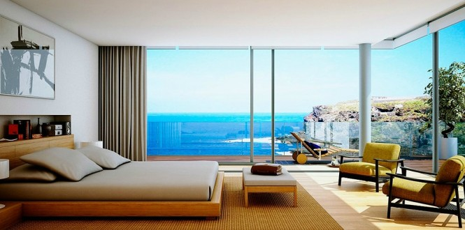 wooden furniture bedroom with beach view