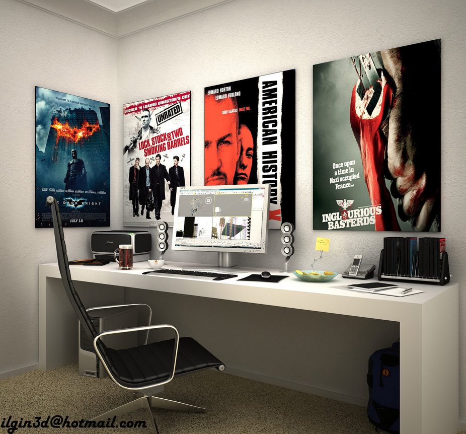 And here is Akcalar's vision of what a young, future producer's or film-maker's office space would look like--simple desk and chair, lots of color and inspiration on the walls. The next designer is Mengot, from Barcelona.