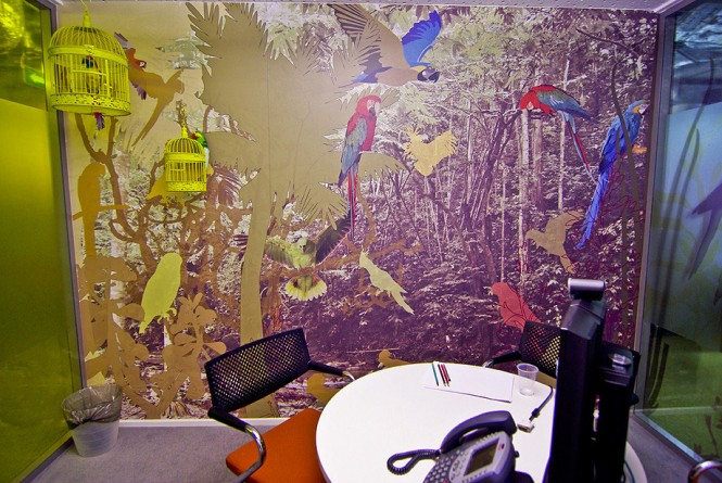 This office is decorated with prints of exotic parrots.