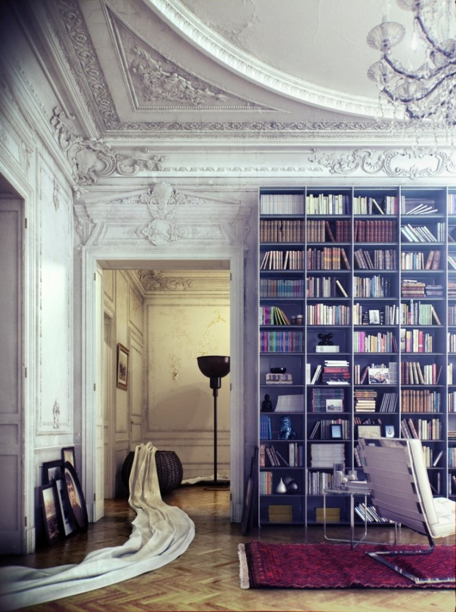 This beautiful, victorian-inspired library designed by Viktor Fretyan placed second in the competition, and is my favorite rendering out of them all.