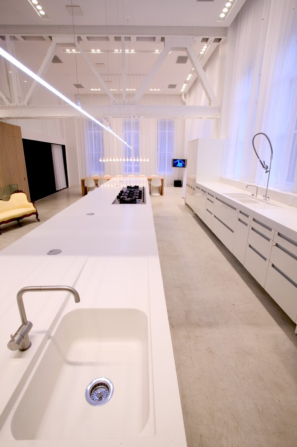 "A 30-foot long kitchen was designed and built by ""The Apartment."""