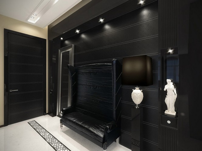 black hall with white touches