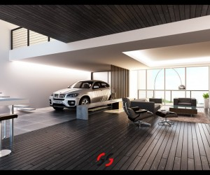 This dark brown wood paneled living room is a super bachelor pad. Bonus: BMW and bicycle parking!