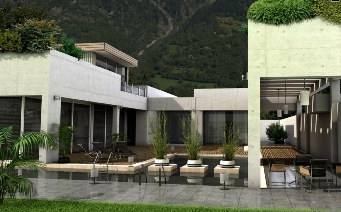 This cement house, set in the valley of a mountainside, mimics the environment around it by combining rocks and plants in its structure and even on its pool.