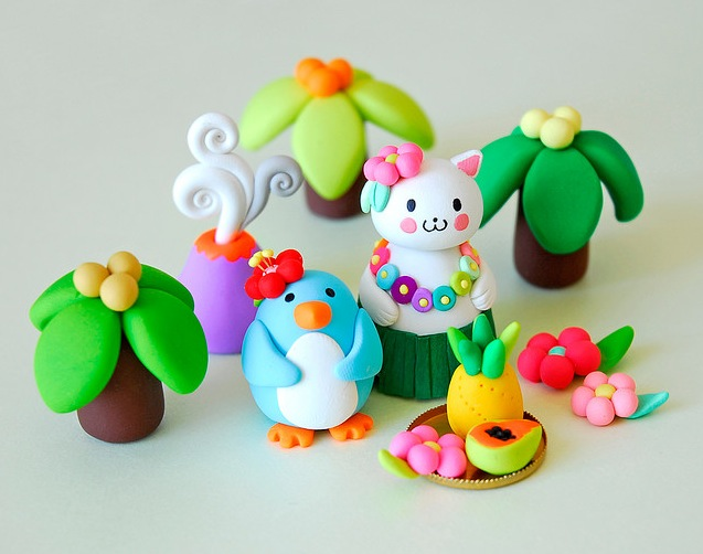 clay animals and plants