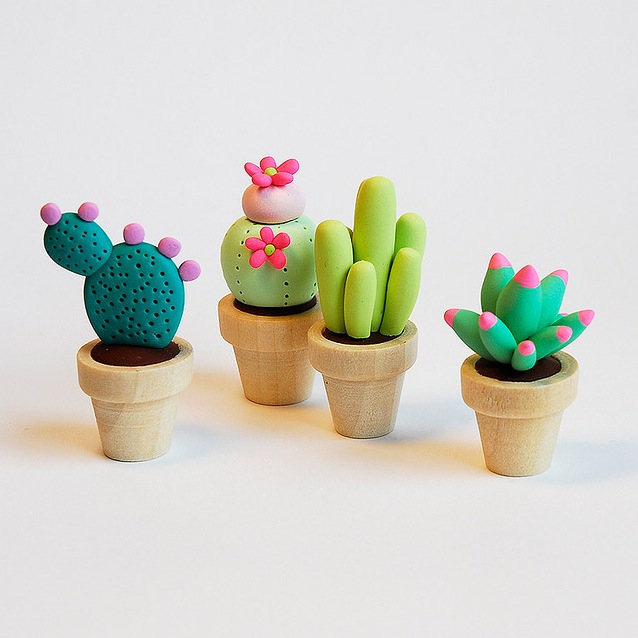 clay pots of clay cactuses