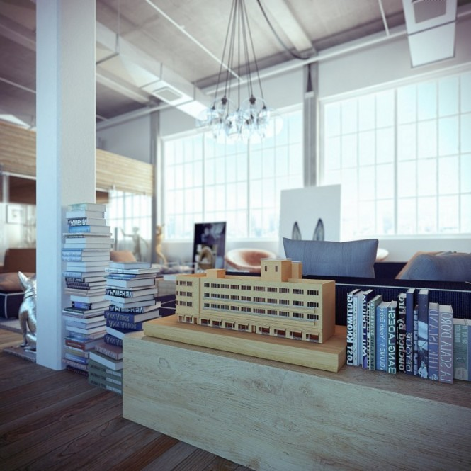 industrial loft with books