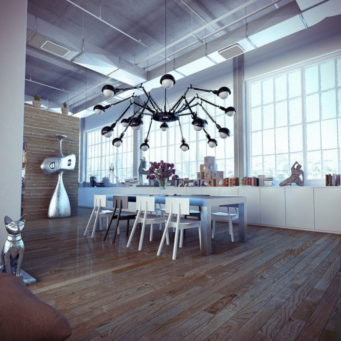 industrial loft with funky decor