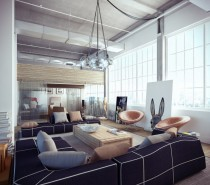 industrial loft with white and navy blue