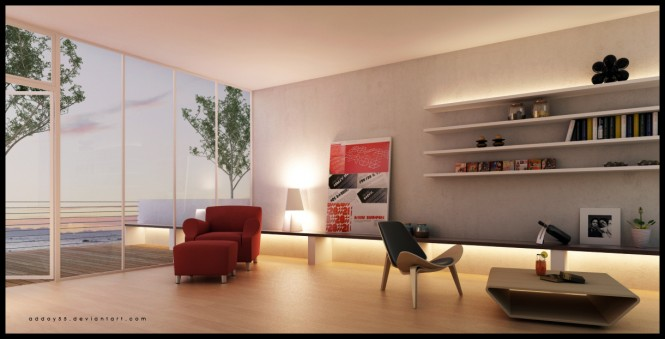 This minimally furnished space draws more attention to the adjacent balcony and the streamlined shelves.