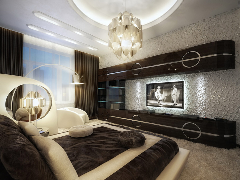 Luxurious and comfy brown bedroom