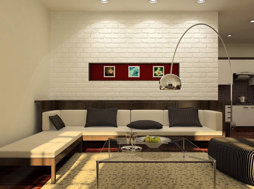 Living Room with Red Brick Wall