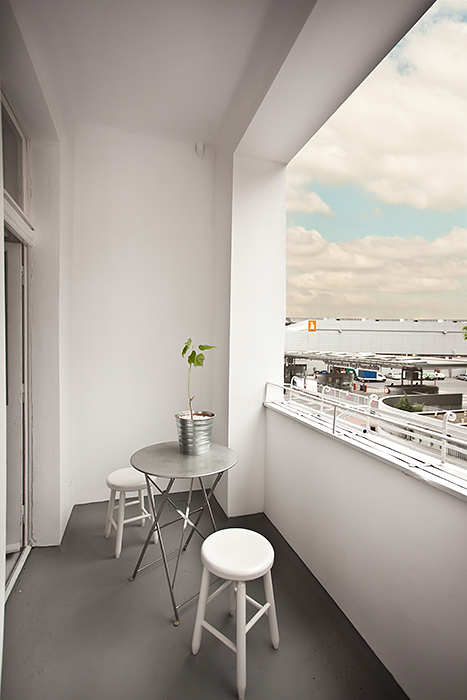 A balcony offers guests a little outdoor escape.