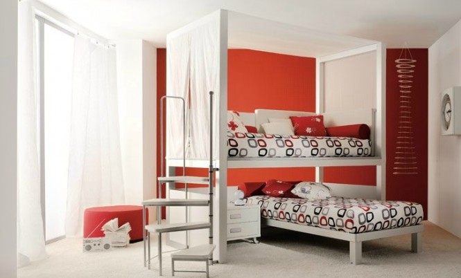 shared kids room in red and white 2