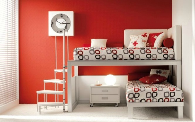 shared kids room in red and white