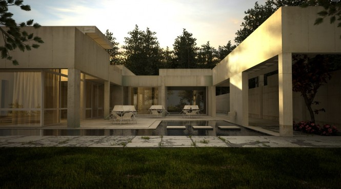 white stone house with pool