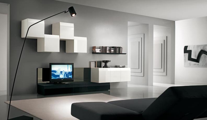 long-narrow-living-room | mounted tv, modern living rooms and