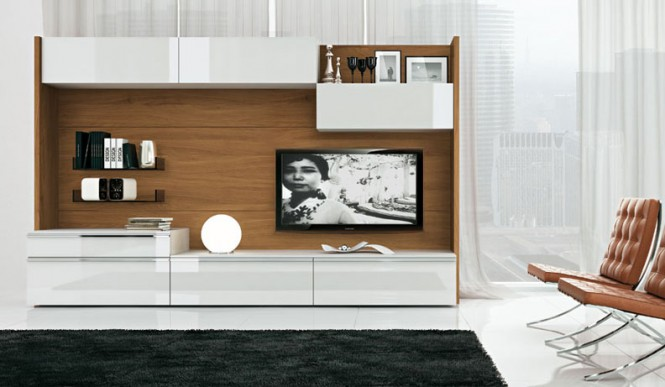 wood and white tv wall mount