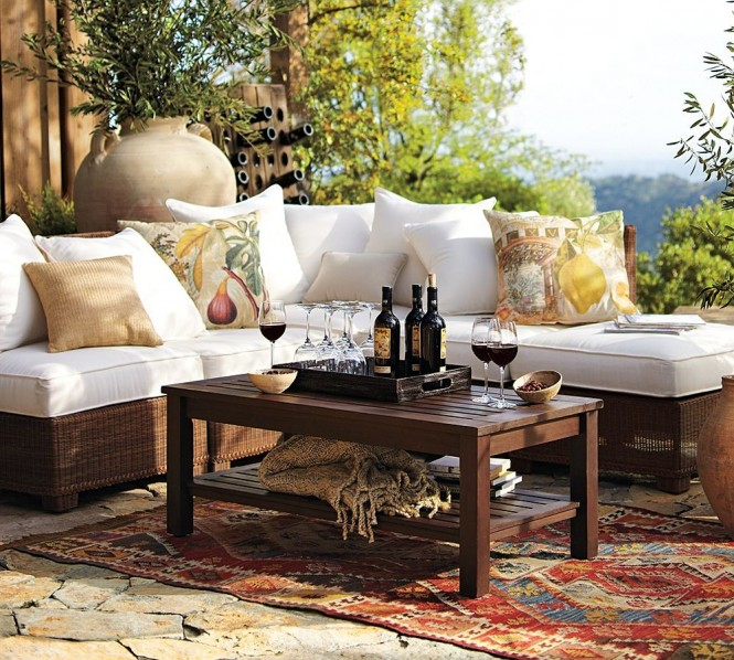 PB outdoor wicker with wine