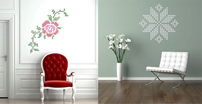 Wall stickers graphic rose and snowflake