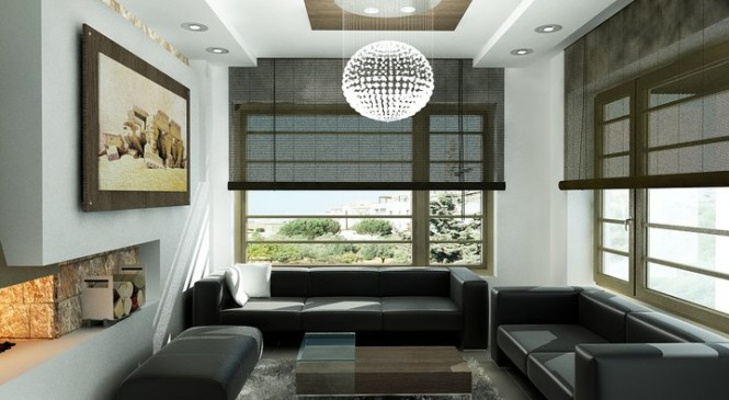 The chandelier in this living area seems to be floating from a light-beam -- this adds drama and flair to an otherwise simple living room.