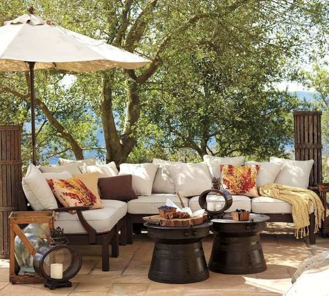 pottery barn outdoor dark wood furniture