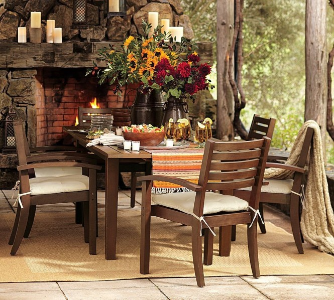 pottery barn wood dining table and chairs