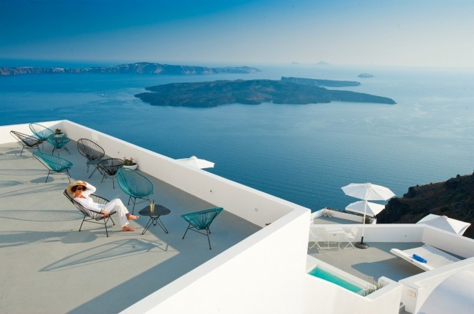 santorini deck with amazing ocean view
