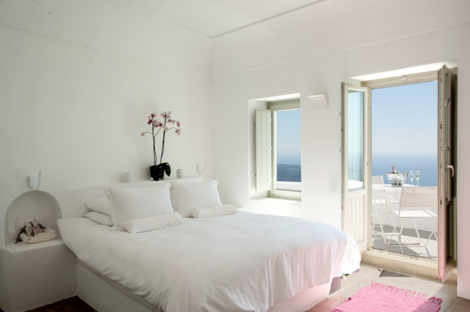 santorini grace white bedroom with balcony