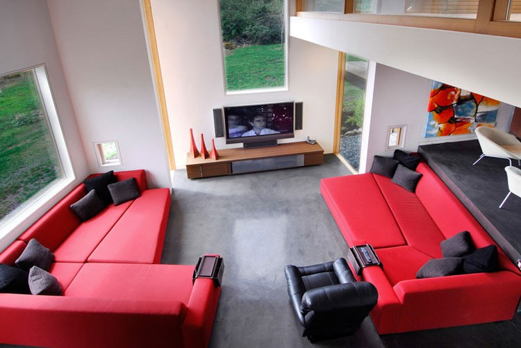 red and black living room there leak