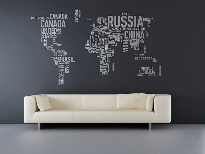pics photos world map wall stickers large world map wall decal sticker 7ft x 3 47ft vinyl wall