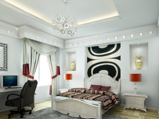There are touches of old and new in this bedroom.