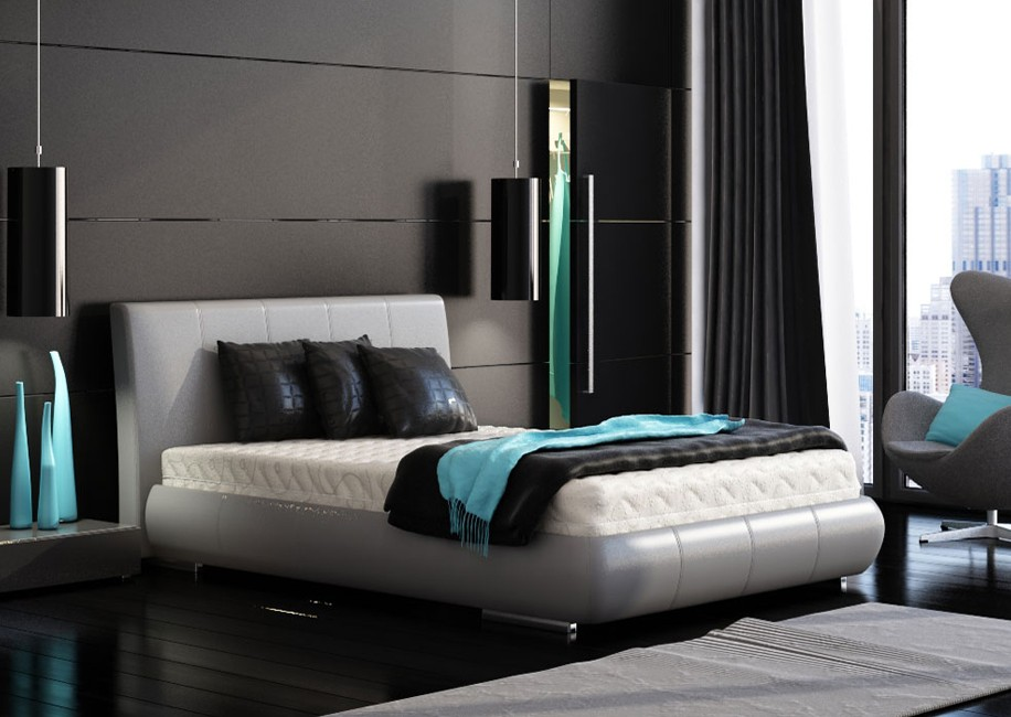 Black bedroom turquoise accents for Black and grey bedroom ideas