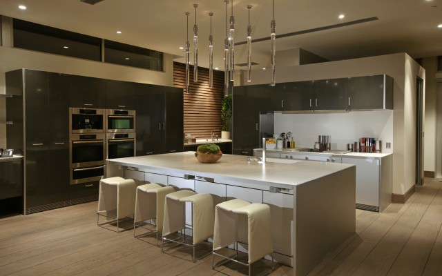 blue jay kitchen with white island and modern design