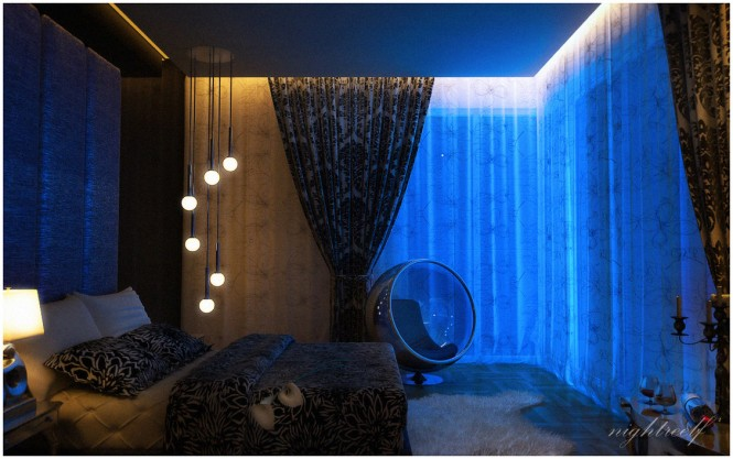 dark blue space bedroom