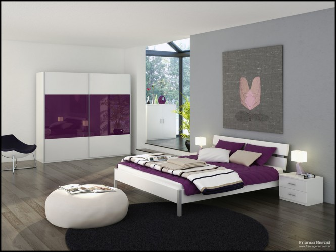 grey bedroom with glass sanctuary and purple and white decor