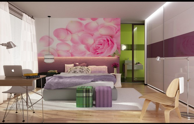 modern girly bedroom with sliding panel closets