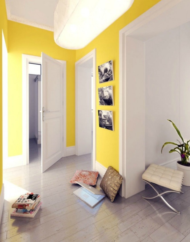 polish firm yellow and white hallway