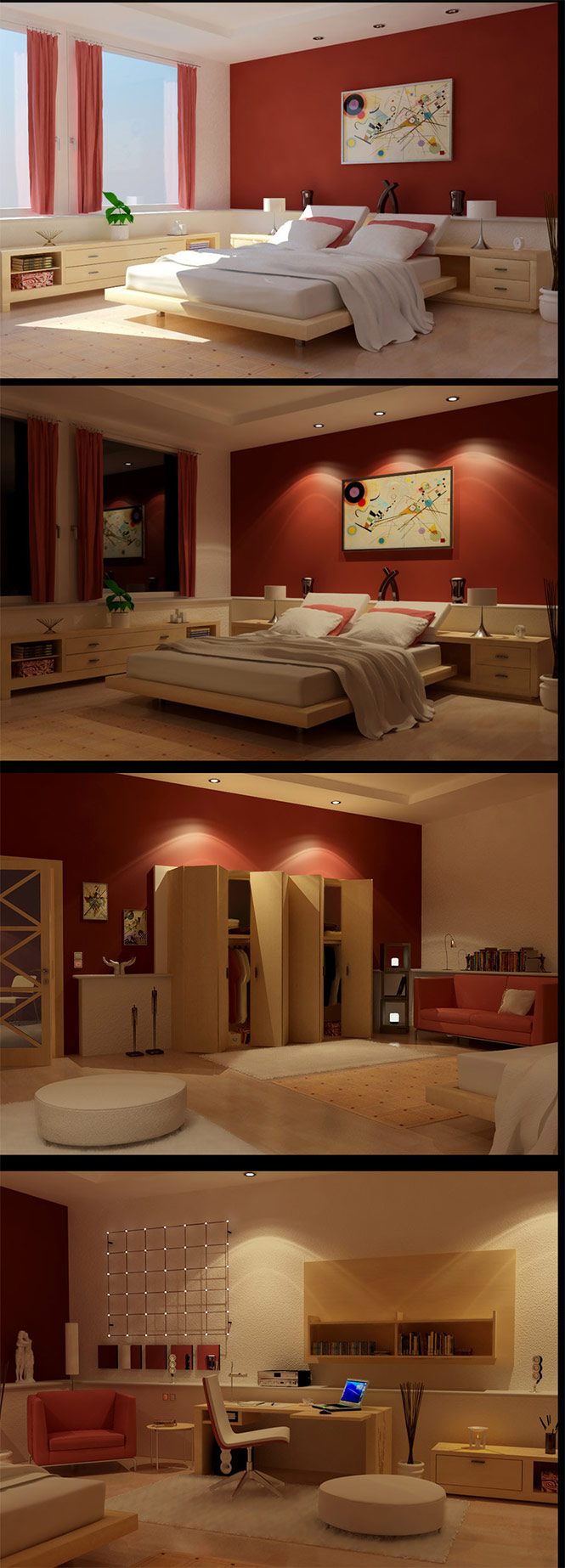 Also by ZigShot82. This bedroom uses a softer shade of red, and incorporates a lighter shade of wood to give off a more tranquil vibe. A beautiful office and closet area are included.