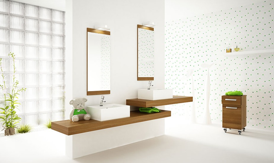 Ideas Baños Rectangulares:White Bathroom with Plants