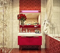 When it comes to combining vintage and modern, that's a job that is quite tricky if you're not a genuine professional. It can look abruptly put together, and even clashing. But it seems to us that this designer passed yet another test – just look what she did with this warm, luxurious bathroom which combines modern furniture in a strong colour, with strong patterns and decors on the tiles and the glass doors. Who would say that halogen lights above the mirror go so well with vintage patterns on these voluptuous red tiles?