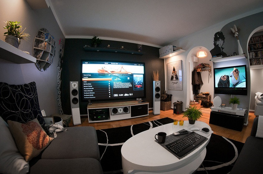 A massive home entertainment setup for Best living room setup