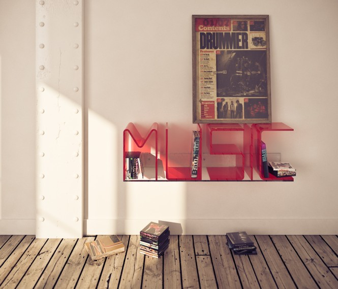 Anita red MUSIC shelf